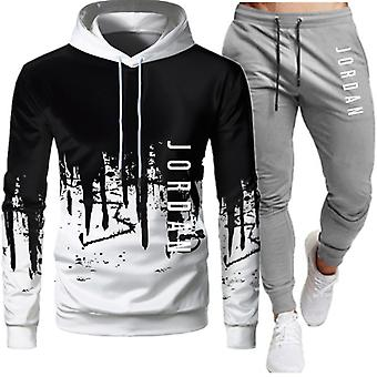 Men's Fashion Letter Print Automne Casual Sports Suit Splicing Hoodie