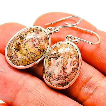 "Poppy Jasper Earrings 1 3/8"" (925 Sterling Silver)  - Handmade Boho Vintage Jewelry EARR409382"