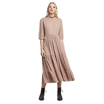 Louche Womens Piper Dobby Lurex Tiered Midaxi Dress Pink