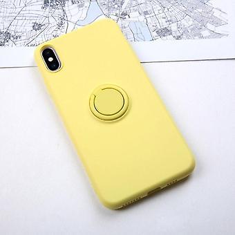 Iphone için Anti-knock Yumuşak Sıvı Silikon Kılıf - Stand Ring Tutucu Kapağı