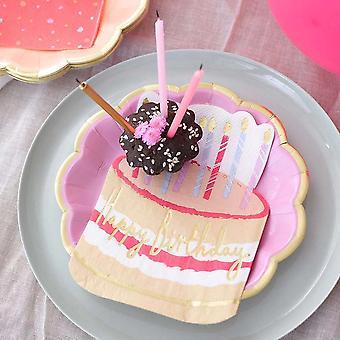 12 Geburtstag Kuchen geformt Eathäute, alles Gute zum Geburtstag Papier Servietten
