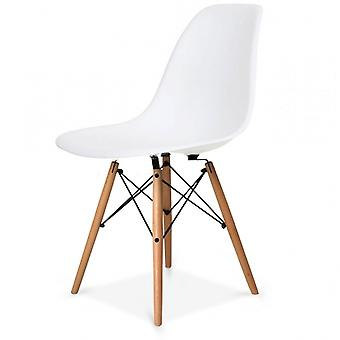 Charles Eames Style Cool White Plastic Retro Side Chair - Natural Wood Legs