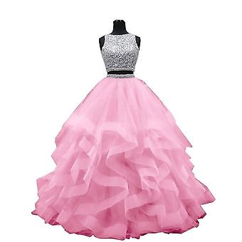 Luxury Crystals Two Pieces Ball Gown Dress