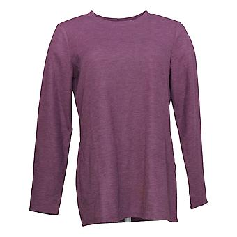 Susan Graver Donna Top Weekend Waffle Knit Tunic con tasche viola A396868