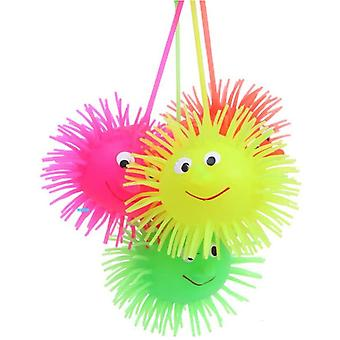 Led Light Up Glowing Hair Flash Ball Child Elasticity Fun (random Color)