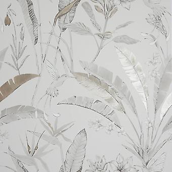Floral Jungle Neutral Wallpaper