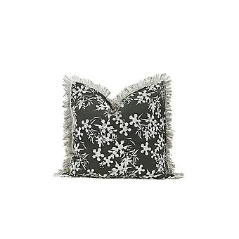 Set of 2 Olive Green and White Floral Decorative Accent Pillows