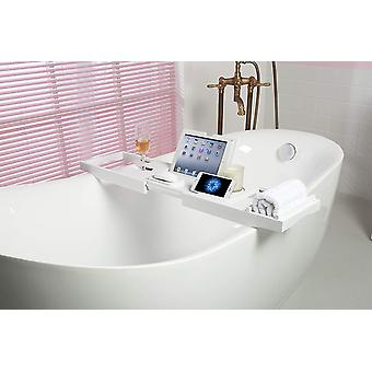 woodluv Luxury Extendable Bath Tub Caddy Bathroom Trays with Tablet Phone Slots, Candle Mug/Cup Hold