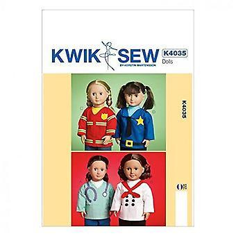 Kwik Sew Sewing Pattern 4035 18' Doll Clothes Uniform Tops Costumes Uncut