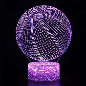 3D Optisk illusionslampa LED Nattljus, 7 färger Touch Sänglampa Sovrum Bord Art Deco Barn Nattljus med USB-kabel Ny födelsedag Present-Basket # 377