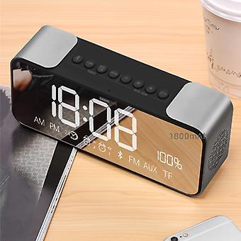 Lenovo L022 Digital LED Clock with Speaker - Wireless Alarm Clock Mirror Alarm Phone Holder Snooze Brightness Adjustment Silver
