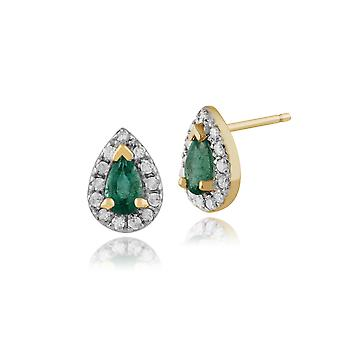 Classic Päärynä smaragdi & timantti klusteri nasta korvakorut 9ct keltainen kulta 24240