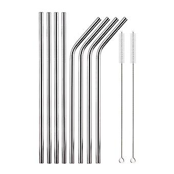 Reusable Drinking Straw 6mm Stainless Steel Straw Set Metal Colorful Straw Milkshake Tea Straws With Cleaner Brush Bag