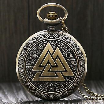 Vintage Dreieck Valknut nordischen Wikinger Bronze Quarz Tasche Uhr Halskette