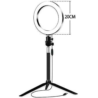20cm/8inch Mini LED Video Ring Light Lamp Dimmable 3 Lystilstande USB-drevne