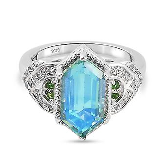 Pfau Triplet Quarz Solitär Ring für Frauen in Silber Chrom Diopside 2,36ct