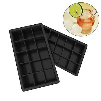 Silicone Ice Cube Trays Molds Easy Release Square Shape Molds (18.5cm*11.5cm*3.5cm,Black)