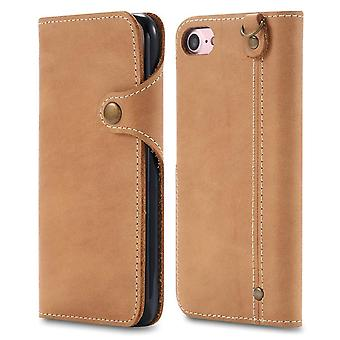 Étui de portefeuille en cuir véritable fente pour carte pour iphone7plus / 8plus boutons kaki no4460