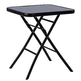 Garden table coffee table 60 x 60 cm – Tempered glass – Black