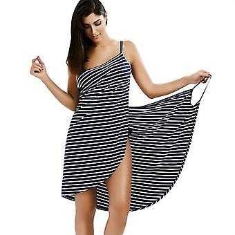 Bath Towel Bathrobe Striped Beach Dress Fast Dry Wrap