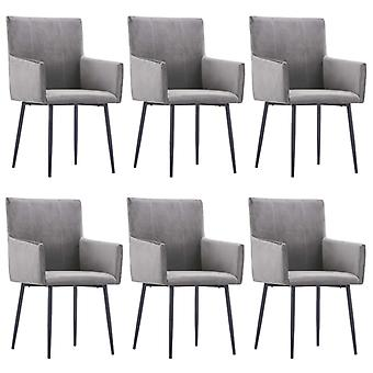 vidaXL dining chairs with armrests 6 pcs. Grey Velvet