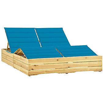 vidaXL Double Sun Lounger sinisellä tyynyllä Mänty kyllästetty