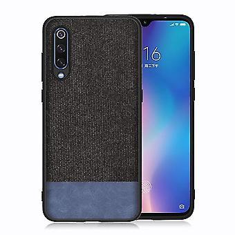 Canvas Hard Case pour Xiaomi Mi CC9e - Noir / Bleu