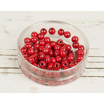 6mm Röd trä gängning pärlor vuxna hantverk - 110pk