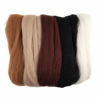 Roving de laine naturelle, 50g - Tons bruns assortis
