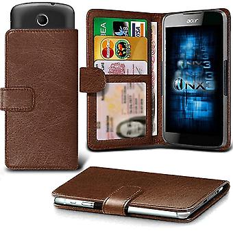 (Brown) LG K4 (2017) Case Universal Adjustable Spring Wallet ID Card Holder with Camera Slide and Banknotes Slot
