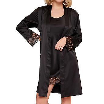 LingaDore 6620KM-02 Women's Black Floral Kimono
