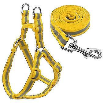 Small Medium Dogs Nylon Reflective Dog Leash Lead Set, Size:S(Yellow)