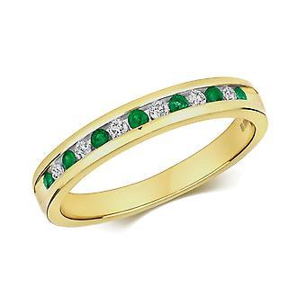 HS Johnson HSJ-RD582E Women's Emerald & Diamond Set Half Eternity Ring