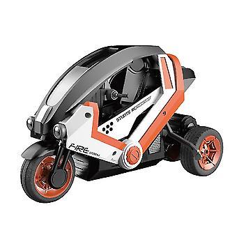 høyhastighets fjernkontroll RC stunt motorsykkel motorsykkel 3 hjul stunt bil barn drift leker (oransje)