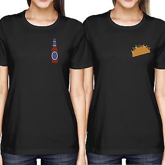 Mejor amigo taco y la cerveza BFF de mujeres coincidencia de camisetas negras camisetas para verano