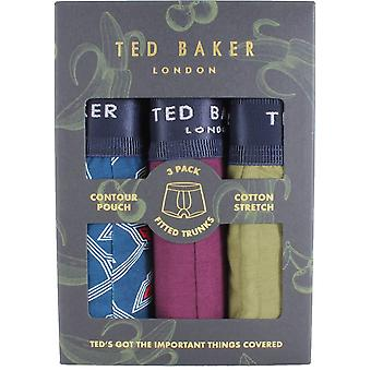 Ted Baker Gibralta Sea Kisses Mönster 3 Pack Trunks - Capulet Olive/Potent Lila/Blå