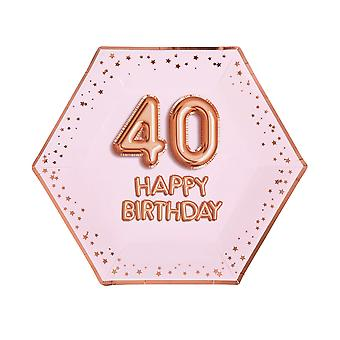 Glitz & Glamour Pink & Rose Gold Plate - Suuri - Ikä 40