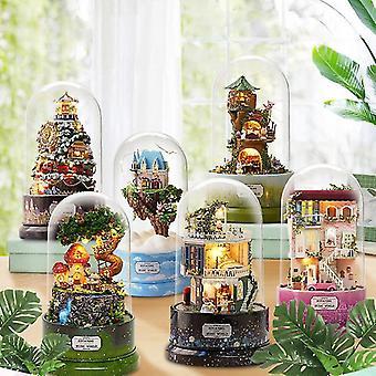 Diy miniatyyri nukkekoti pölypeite huonekalut puu talo lapsille syntymäpäivä lahjoja