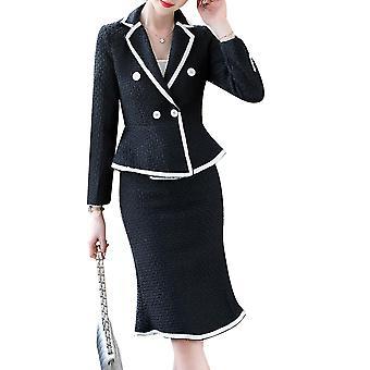 Damen Damen schlanke elegante Casual Gestreifte Business Arbeit formale zweiteilige Anzug