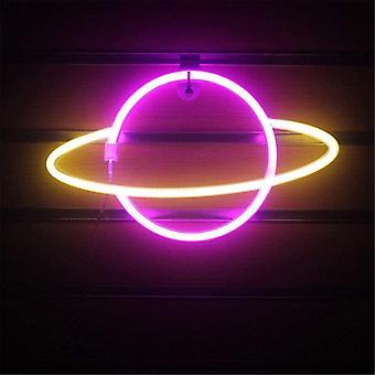 Планета Неоновый Свет Светодиодные Знаки Украшение Стены, Планета Неоновые Знаки Светодиодные Неоновые Стены Знак Розовые Неоновые Огни