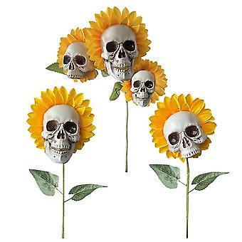 3pcs Halloween Sunflower Skeleton Head Decorations