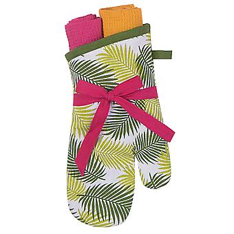 Paradise Palm Fronds Kitchen Oven Mitt and Towels Gift Set Three Piece