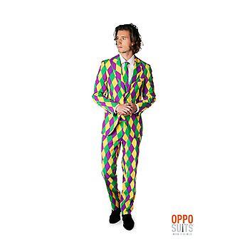 Costume d'Arlequin Harleking teinté Opposuit slimline Premium 3 pièces UE tailles