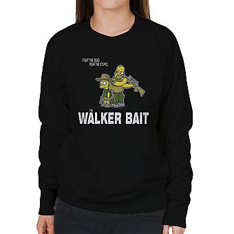The Walker Bait Walking Dead Rick And Carl Grimes Homer And Bart Simpson Women's Sweatshirt