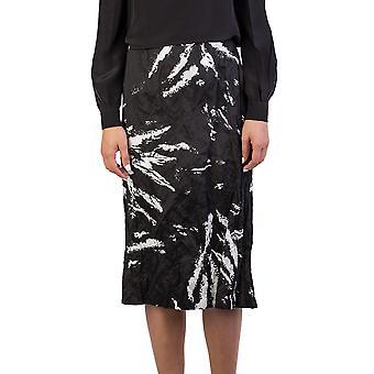 Miu Miu Women's Cotton Metal Fiber Blend Crinkled Long Skirt Black