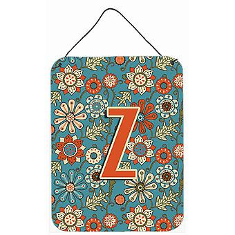 Letter Z Flowers Retro Blue Wall or Door Hanging Prints