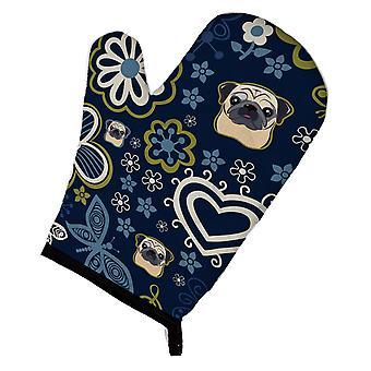 Carolines schatten BB5113OVMT blauwe bloemen Fauve Pug Oven Mitt