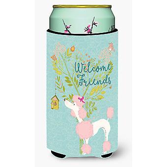 Welcome Friends Pink Poodle Tall Boy Beverage Insulator Hugger
