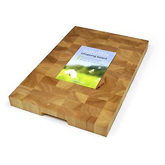 Naturals rectangulaire en bois professionnel hachoir Conseil bouchers bloquent 45x30x3.5cm avec Holding Grip