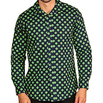 Christmas Mens Sprout manches longues impression bouton bas chemise formelle